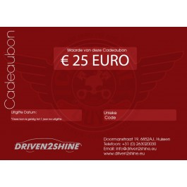Cadeaubon Driven2Shine 25 Euro, Driven2shine, D2S25EURO