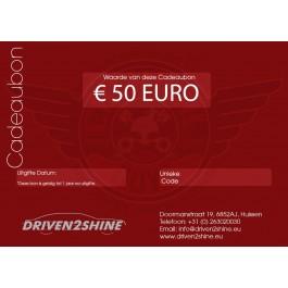 Cadeaubon Driven2Shine 50 Euro, Driven2shine, D2S50EURO