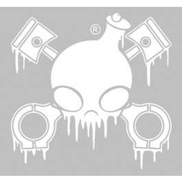 Chemical Guys Drip Skull Sticker Wit